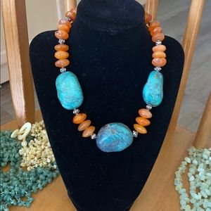 Turquoise, orange & coral art glass